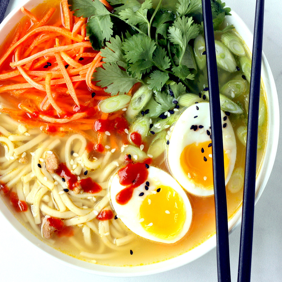 Transform canned chicken noodle soup into quick ramen bowls by adding fresh ginger, crunchy vegetables, herbs and a jammy soft-boiled egg. Look for a low-sodium soup that has 450 mg sodium or less per serving.