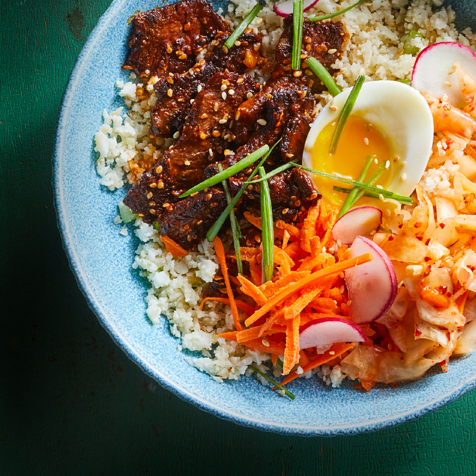 Korean Steak Kimchi Cauliflower Rice Bowls Recipe Eatingwell