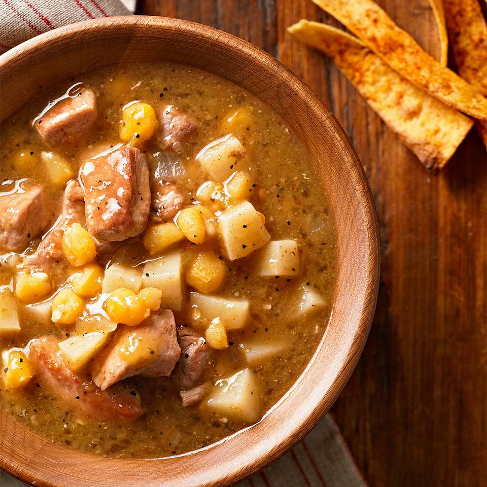 Let your slow cooker work—while you're at work!—and come home to a delicious bowl of hearty stew for dinner. Full of potatoes, hominy, green chiles, and chunks of pork sirloin, this filling stew recipe takes just 25 minutes to prepare in the morning.