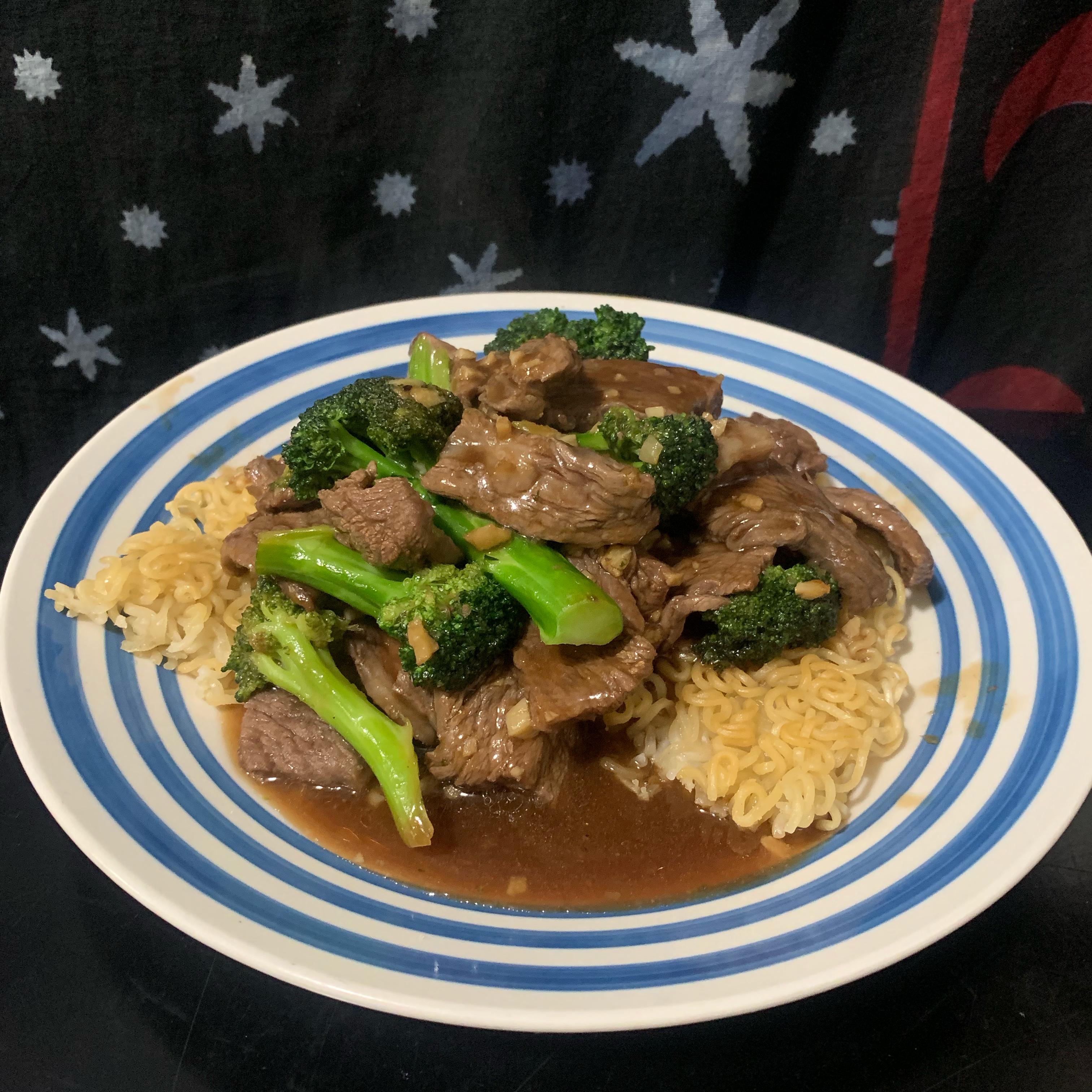 Stir-Fried Beef and Broccoli with Crisp Ramen Noodle Cake