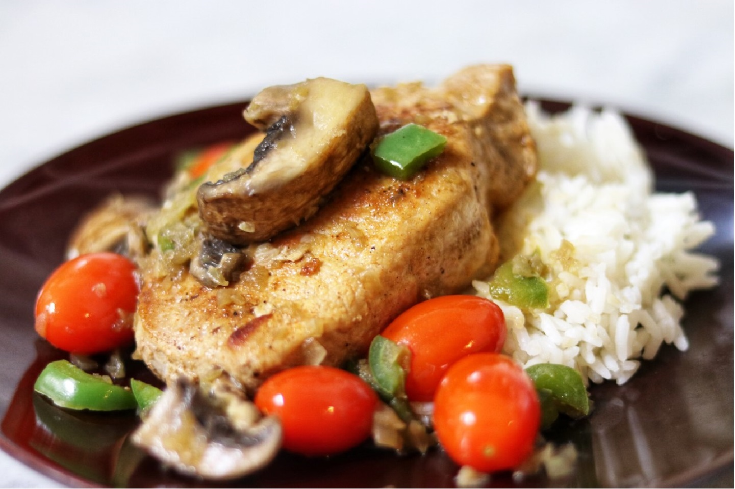 Pork Chops with Mushrooms and Grape Tomatoes Spencer & Serena