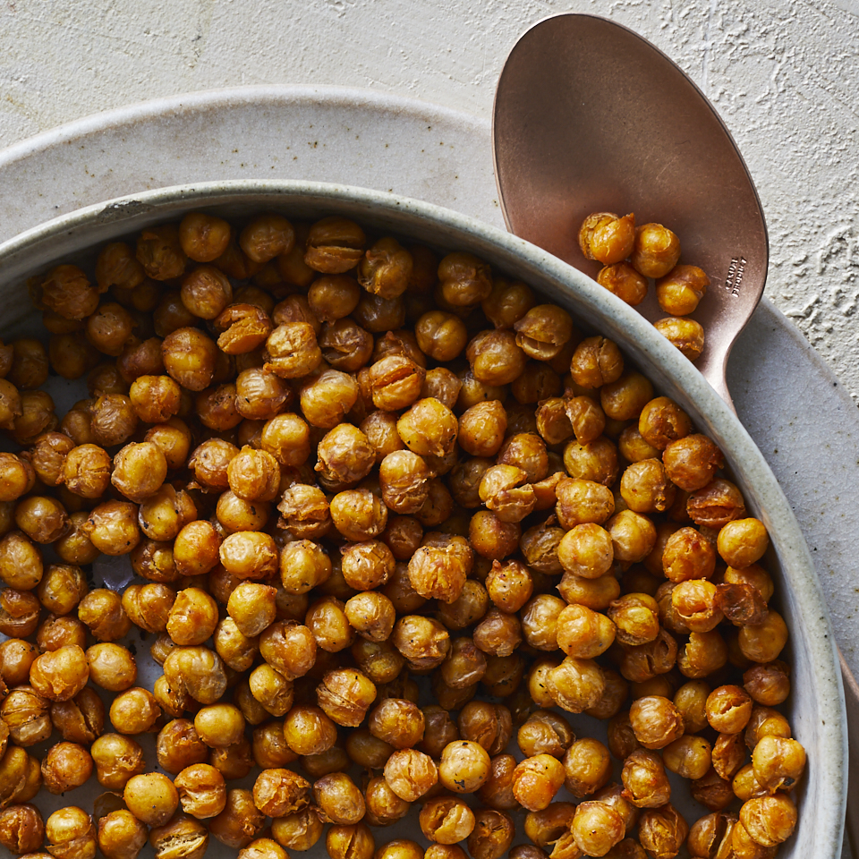 Air-fried chickpea snacks are intensely flavored and incredibly crunchy. Drying the chickpeas is essential to a good crunch, so don't skip this step. If you have time, leave them out on the counter to dry for an hour or two before frying.