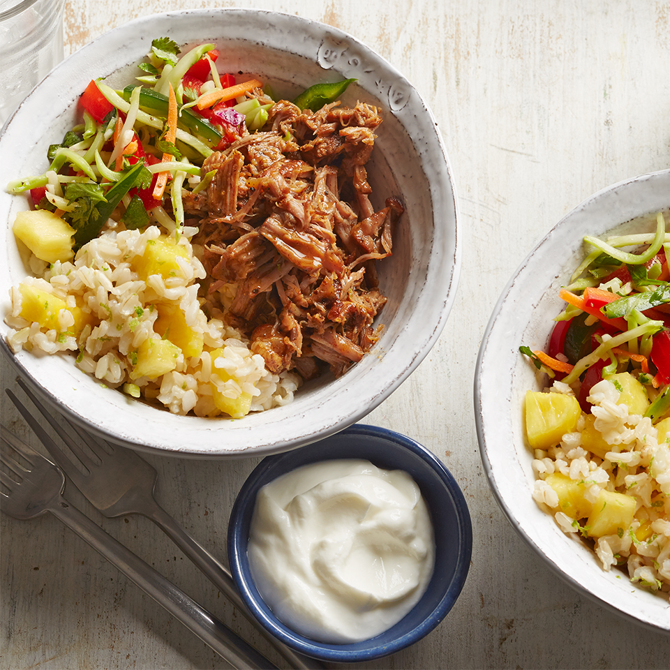 Shredded Pork Burrito Bowls with Veggie Slaw