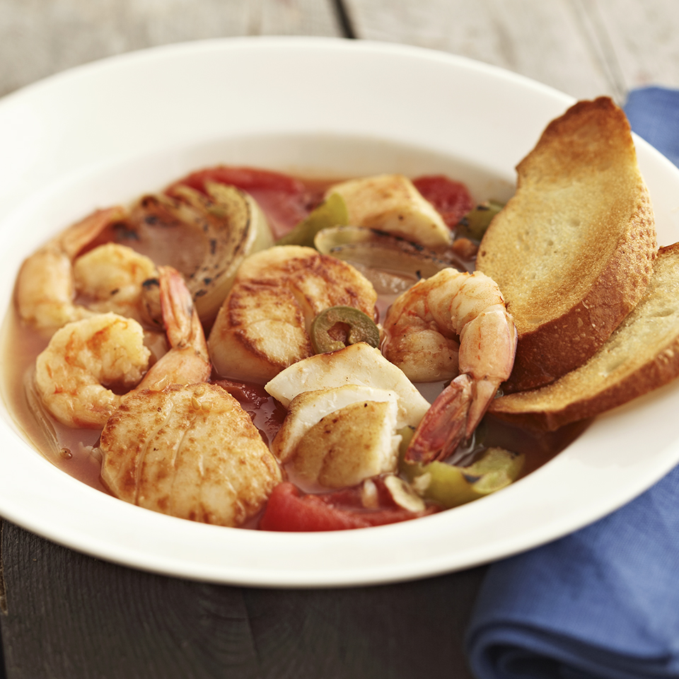 Seafood Stew with Toasted Baguette Slices Diabetic Living Magazine