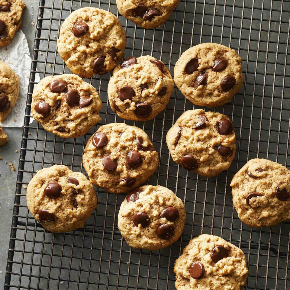 Almond butter and coconut oil replace dairy butter and eggs in these vegan treats, giving them the crisp but chewy texture that we all love. On its own, chocolate is a vegan ingredient but dairy products are often introduced during processing. Some chocolate chips may not be labeled vegan, but if they do not contain dairy products, such as whey, casein, milk, milk fat and milk solids, they are vegan. Check labels carefully.