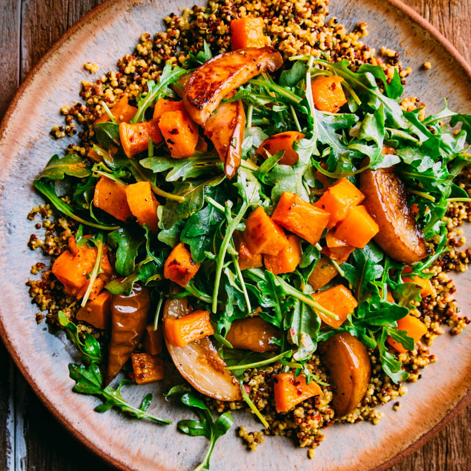 This roasted vegetable and fruit salad gets infused with flavor from quinoa that's cooked with fresh ginger, garlic and a hit of turmeric. Serve it alongside a roast chicken, then mix the leftovers together for lunch. Your future self will thank you.