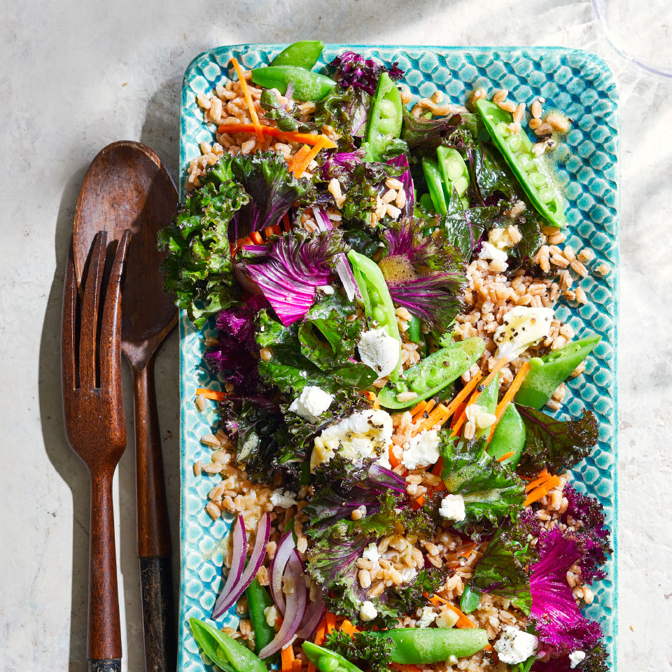 In this easy vegetarian recipe, hearty kale and other fresh veggies come together with nutty farro for an easy main-dish salad. The many varieties of kale vary in color and texture; all can be enjoyed cooked or raw. You can gently rub raw kale to make it more tender—massaging will help break down the thick, sturdy leaves. Pearled or semi-pearled farro has some or all of the bran layer removed, so it cooks more quickly.