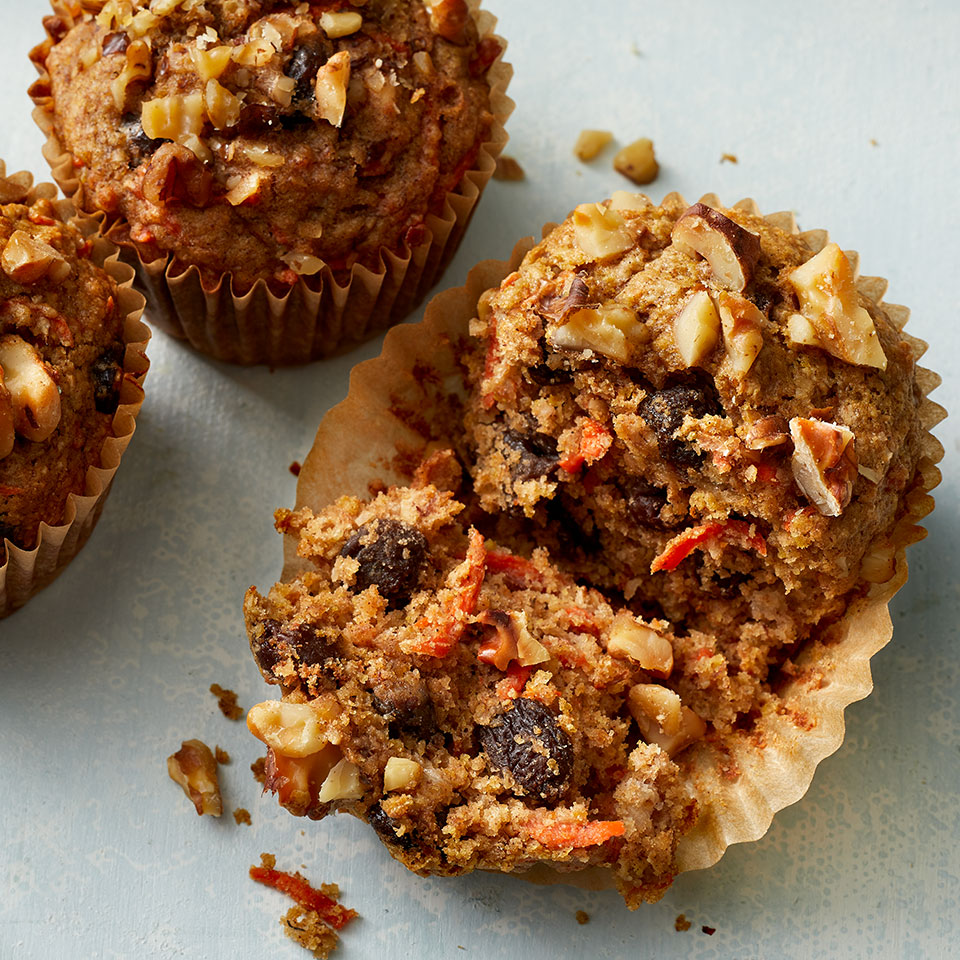 Packed with flavorful and wholesome ingredients, these carrot-banana muffins make a good snack or breakfast.