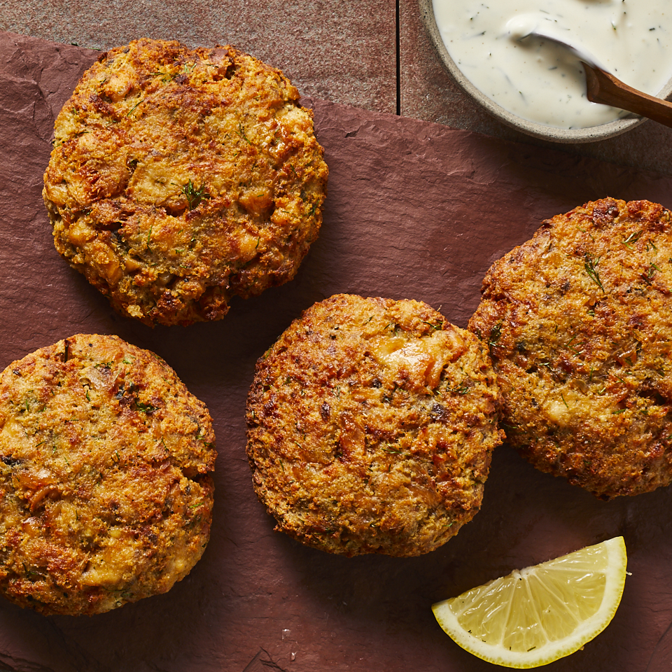 These air-fried salmon patties are reminiscent of classic salmon croquettes, crispy on the outside and pillowy tender on the inside. Look for canned or jarred salmon that has less than 50 milligrams of sodium per serving, and don't be afraid of varieties that have bones. They're easy to remove.