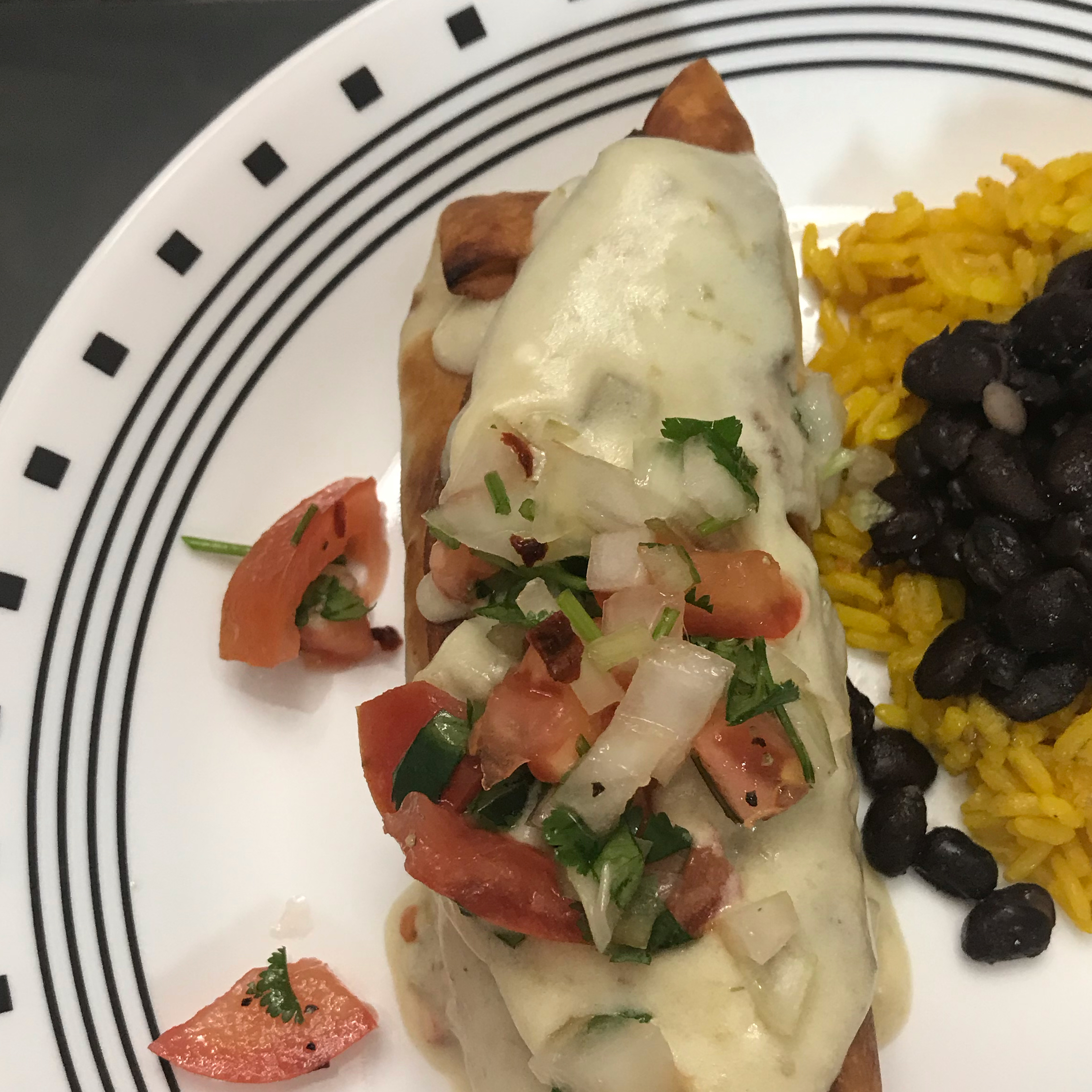 Chicken Chimichangas with Sour Cream Sauce Angela Laster