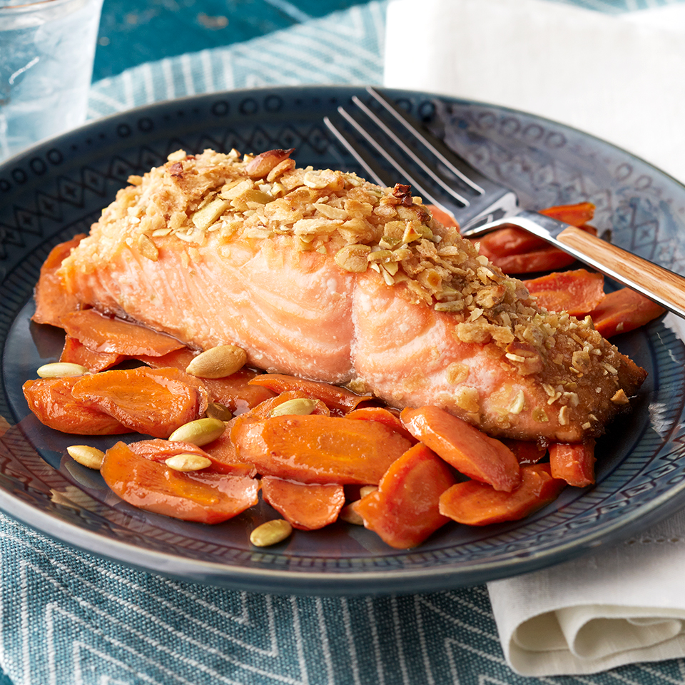 Because this one-pan meal is ready in just 35 minutes, it's a good choice for a healthy recipe after you've had a long day at the office. Maple-spiced carrots cook alongside pepita-crusted salmon fillets and deliver amazing taste and nutrition in a dinner the whole family will devour.