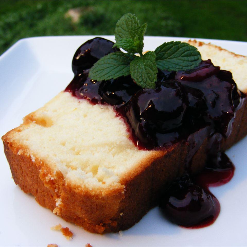 Sour Cream Lemon Pound Cake with Cherry Compote