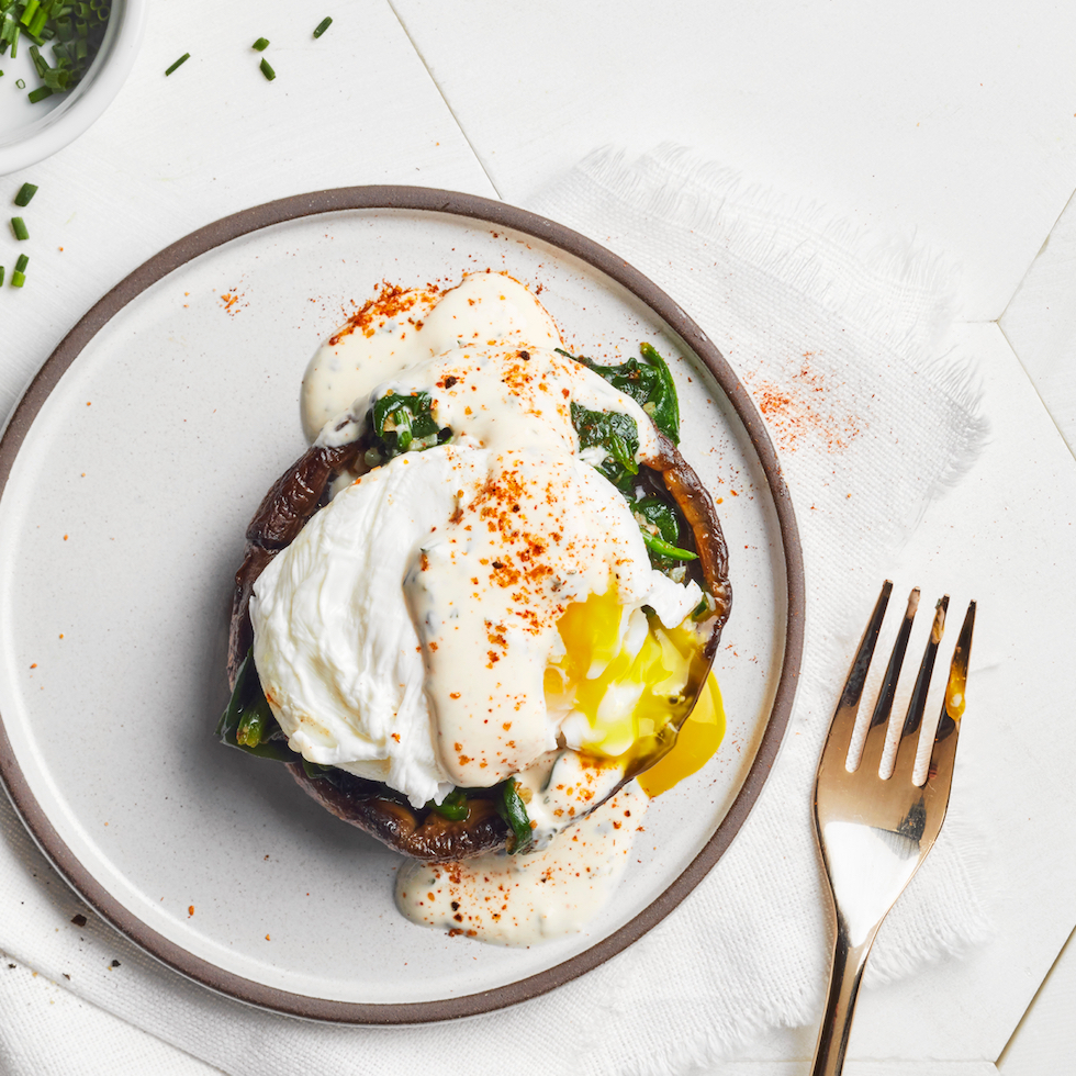 Portobello Spinach Eggs Benedict