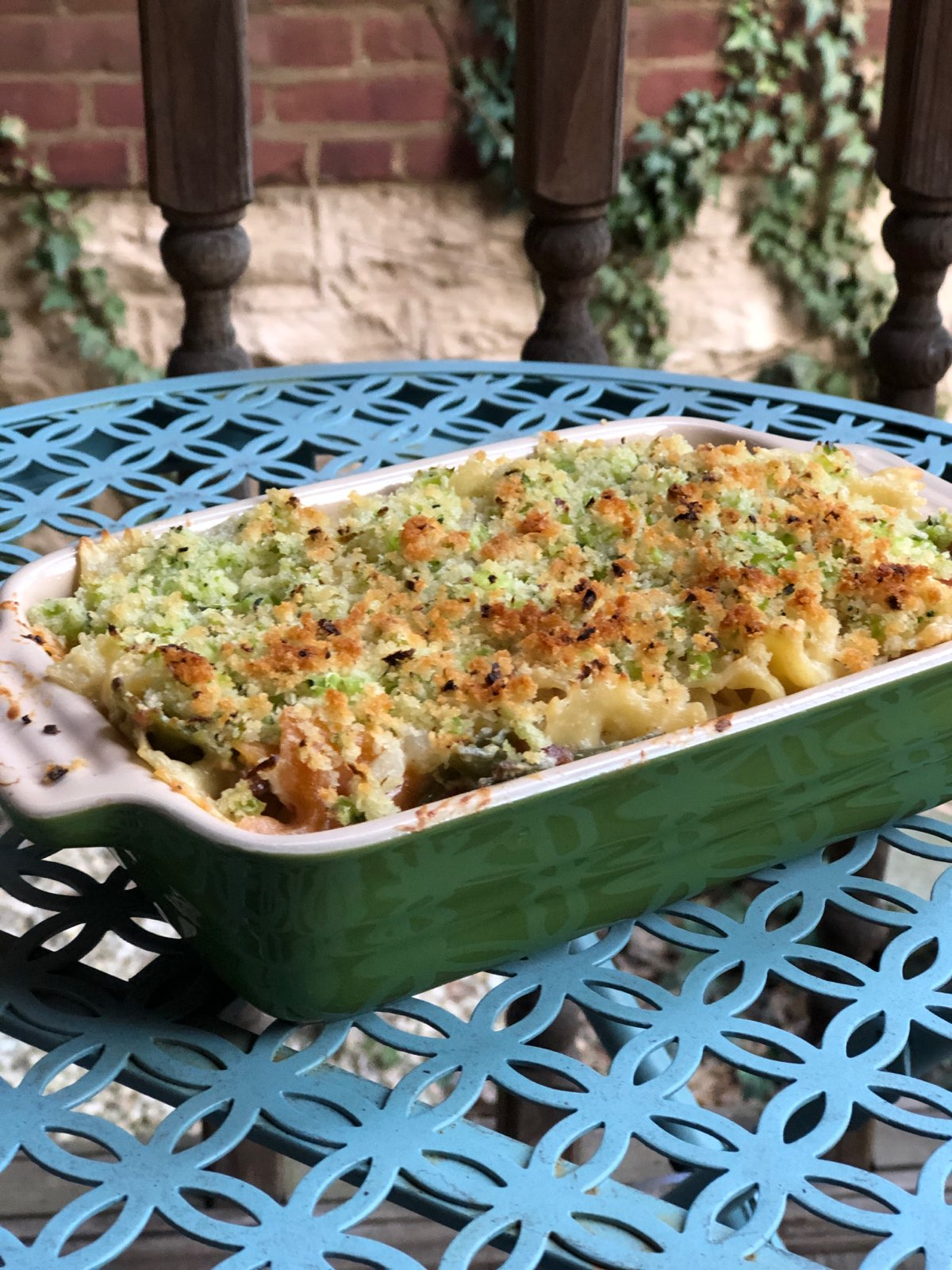 Cheesy Bacon Pasta Bake with Broccoli Crumble