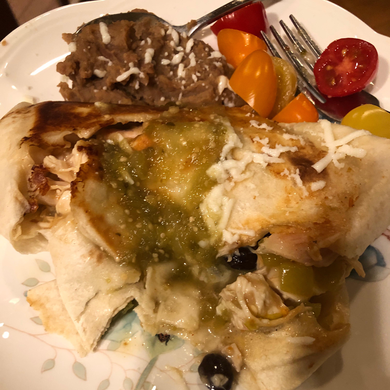 Chicken Chimichangas with Green Sauce shari k.