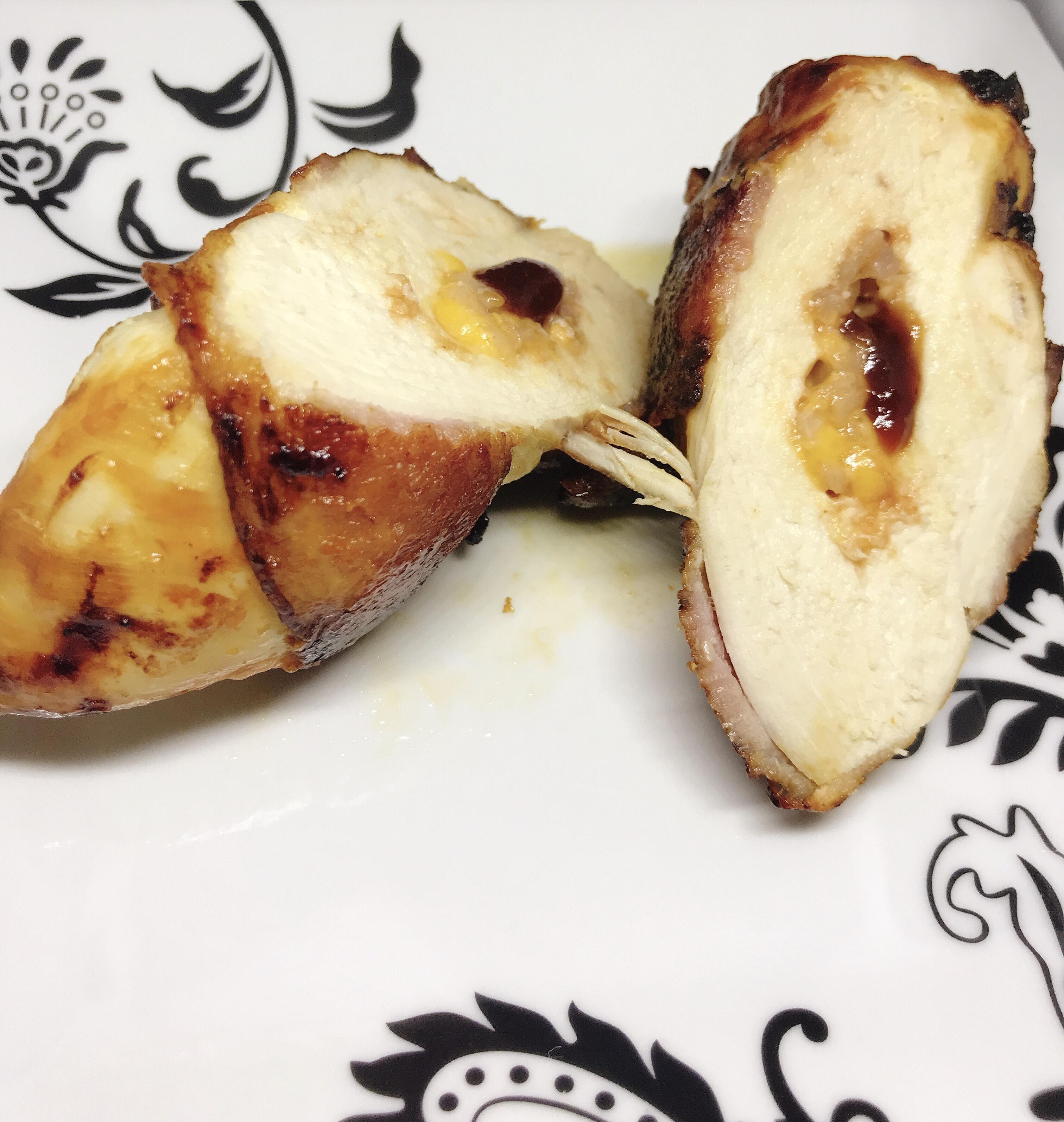 Air Fryer BBQ Cheddar-Stuffed Chicken Breasts thedailygourmet