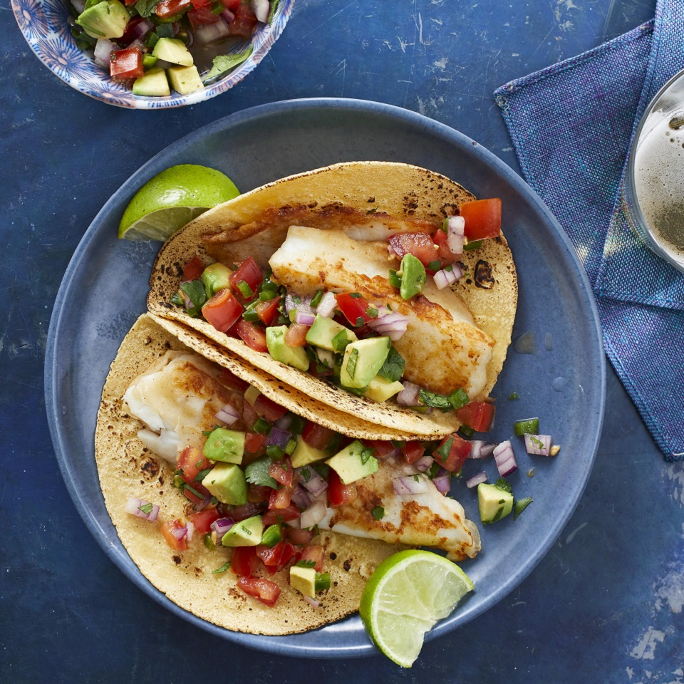 Beer-Battered Fish Tacos with Tomato & Avocado Salsa Stacy Fraser