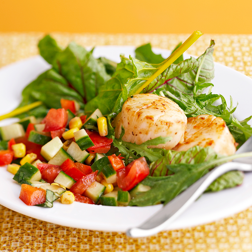 Scallop Salad With Basil Vinaigrette Recipe Eatingwell