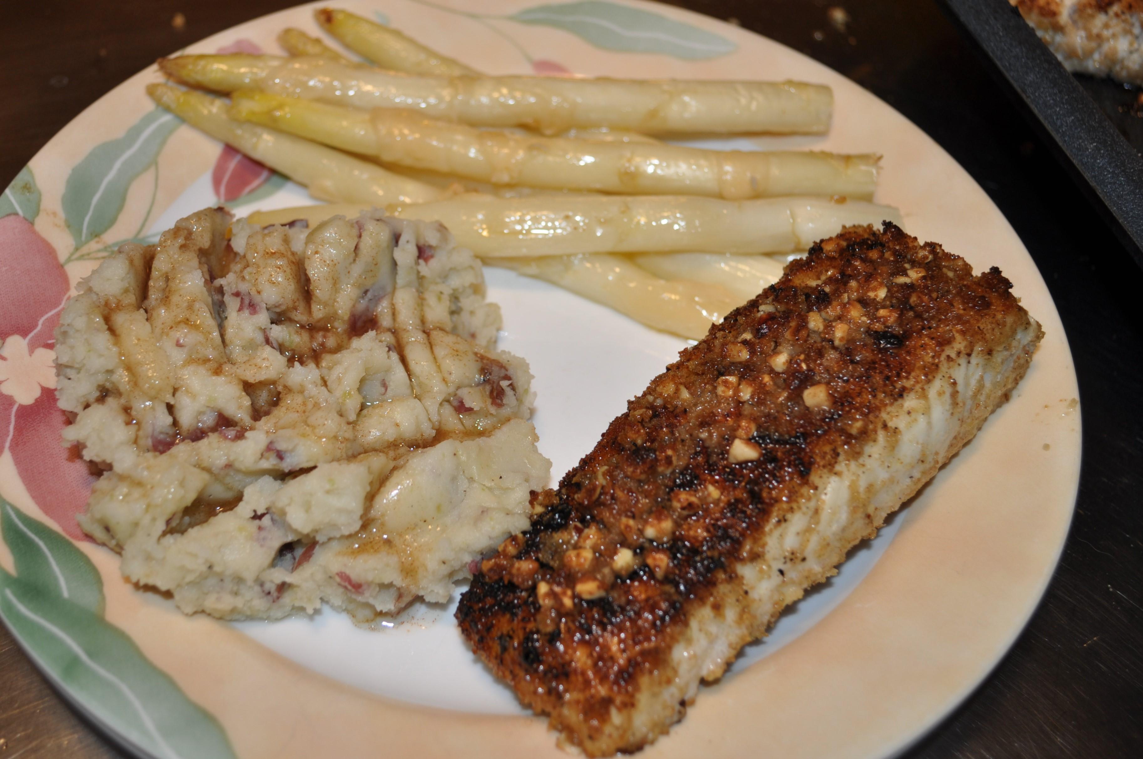 Hazelnut Crusted Halibut with Garlic Mashed Potatoes Betty Dickson