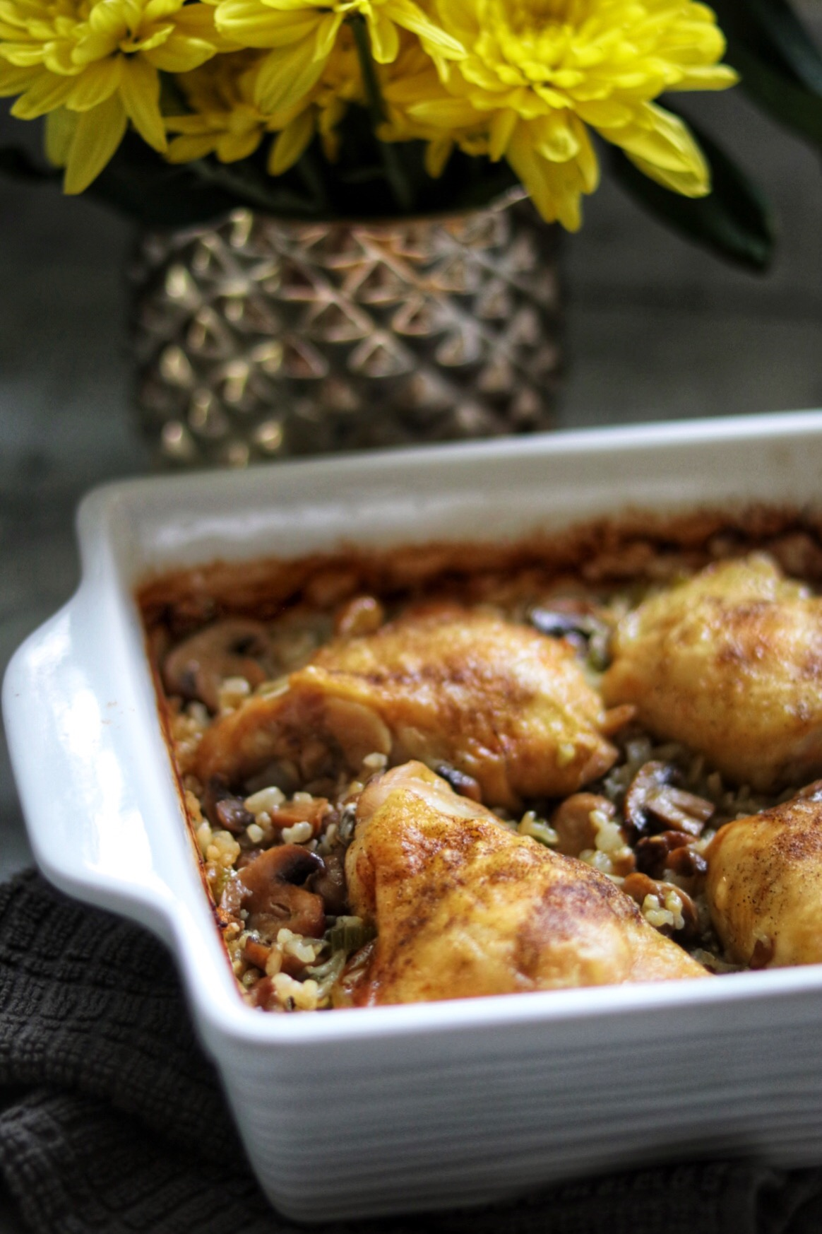 Baked Chicken Thighs With Mushroom Brown Rice trishthedish617
