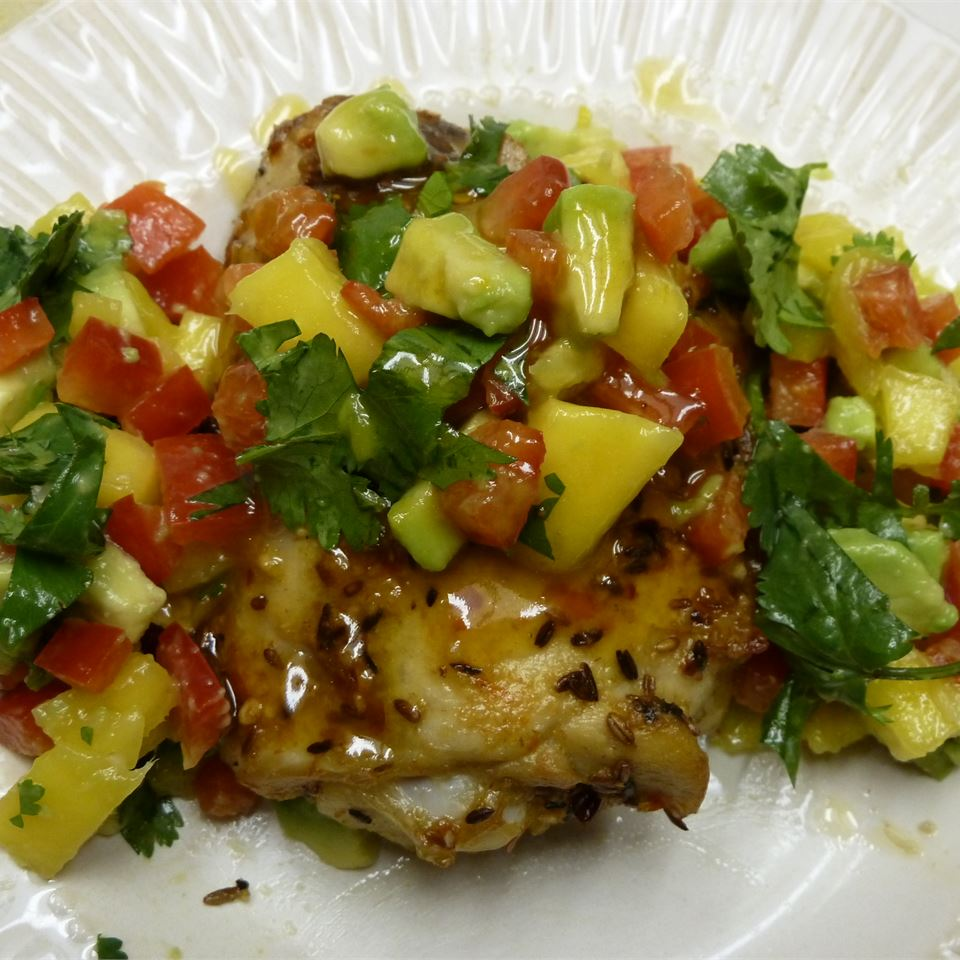 Spicy Cuban Mojo Chicken with Mango-Avocado Salsa