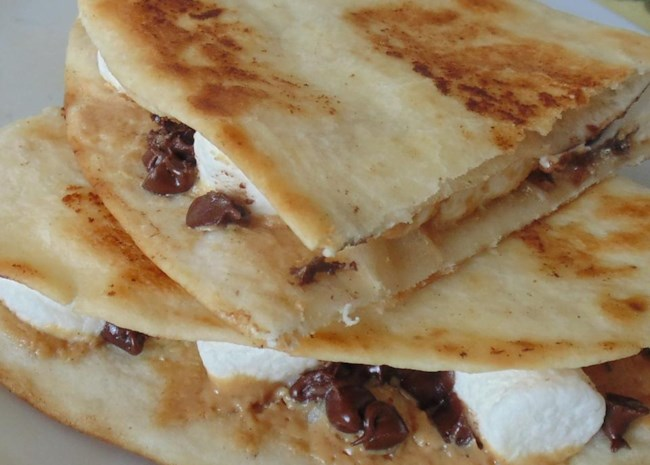 Dessert Quesadillas with Peanut Butter, Chocolate, and Marshmallow