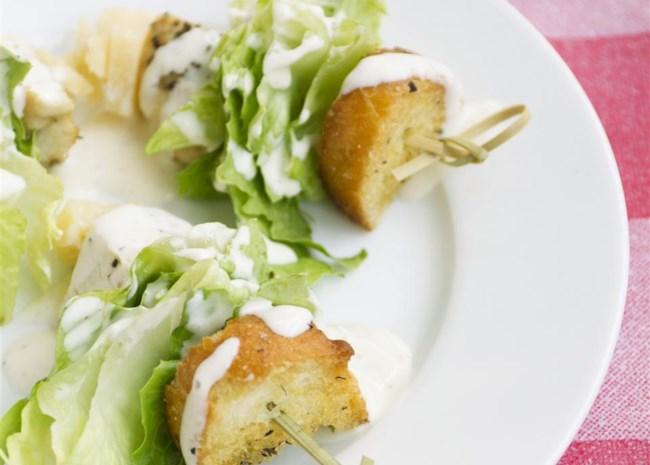 Chicken Caesar Salad on a Stick