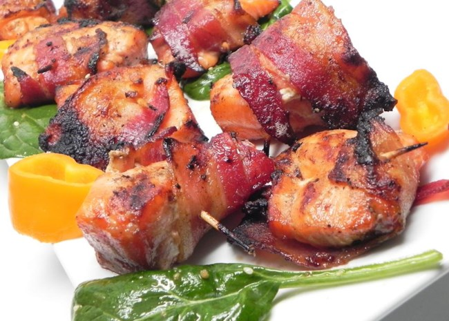 Bacon-Wrapped Bourbon-Marinated Salmon