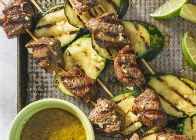 cuban beef and zucchini kebabs