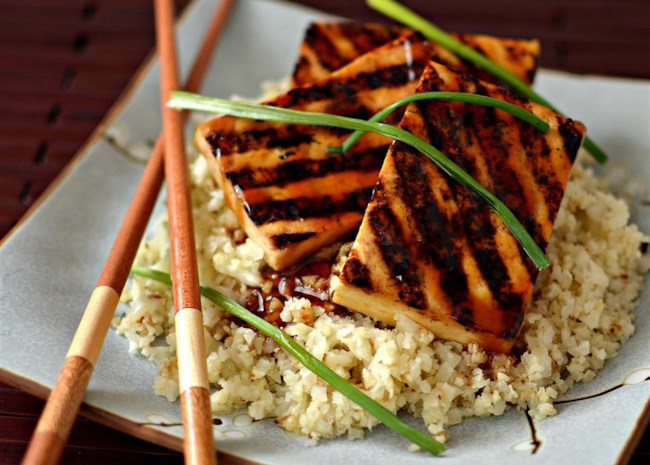 Grilled Teriyaki Tofu with Roasted Cauliflower Rice