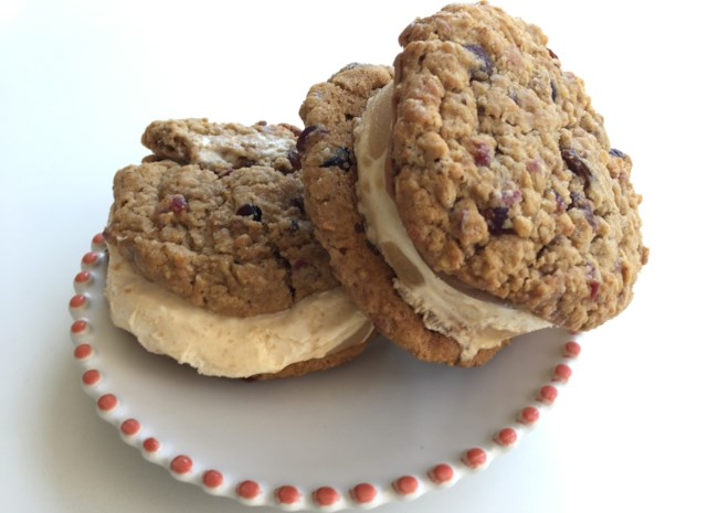 Spiced Apple Oatmeal Cookie Ice Cream Sandwiches