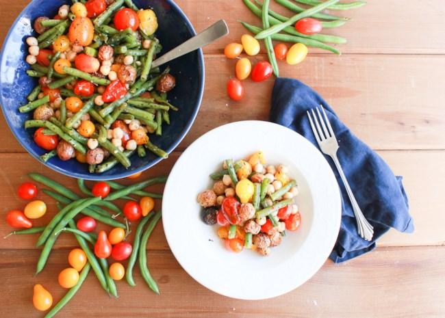 Vegan Green Bean, Tomato, and Basil Sheet Pan Dinner
