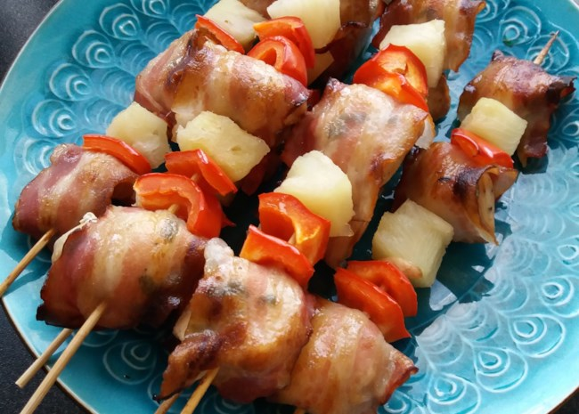 chicken and bacon shish kebobs