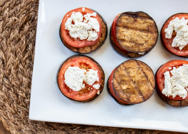 Grilled Eggplant, Tomato, and Goat Cheese