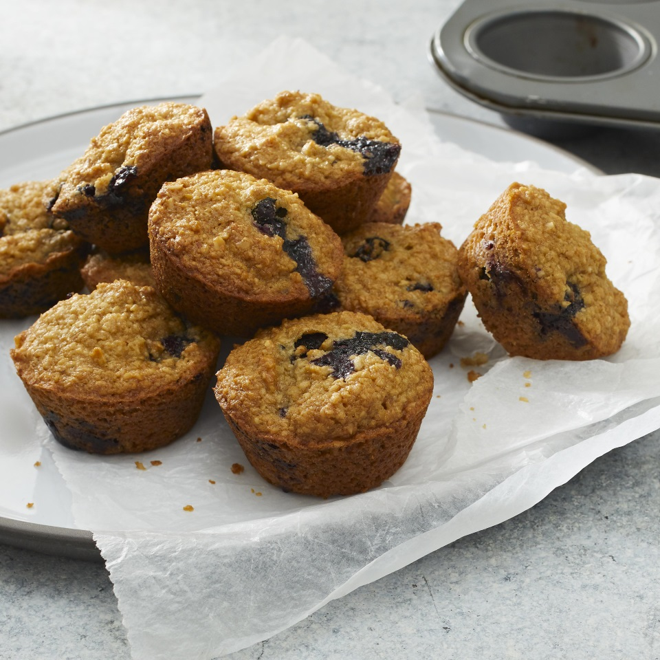 We subtracted the flour, dairy products and eggs from these healthy mini muffins, which are vegan and gluten-free. But we left in all the good stuff—like tons of juicy berries in every bite. Applesauce and brown sugar make these blender muffins moist and provide just the right amount of sweetness for breakfast or a snack.