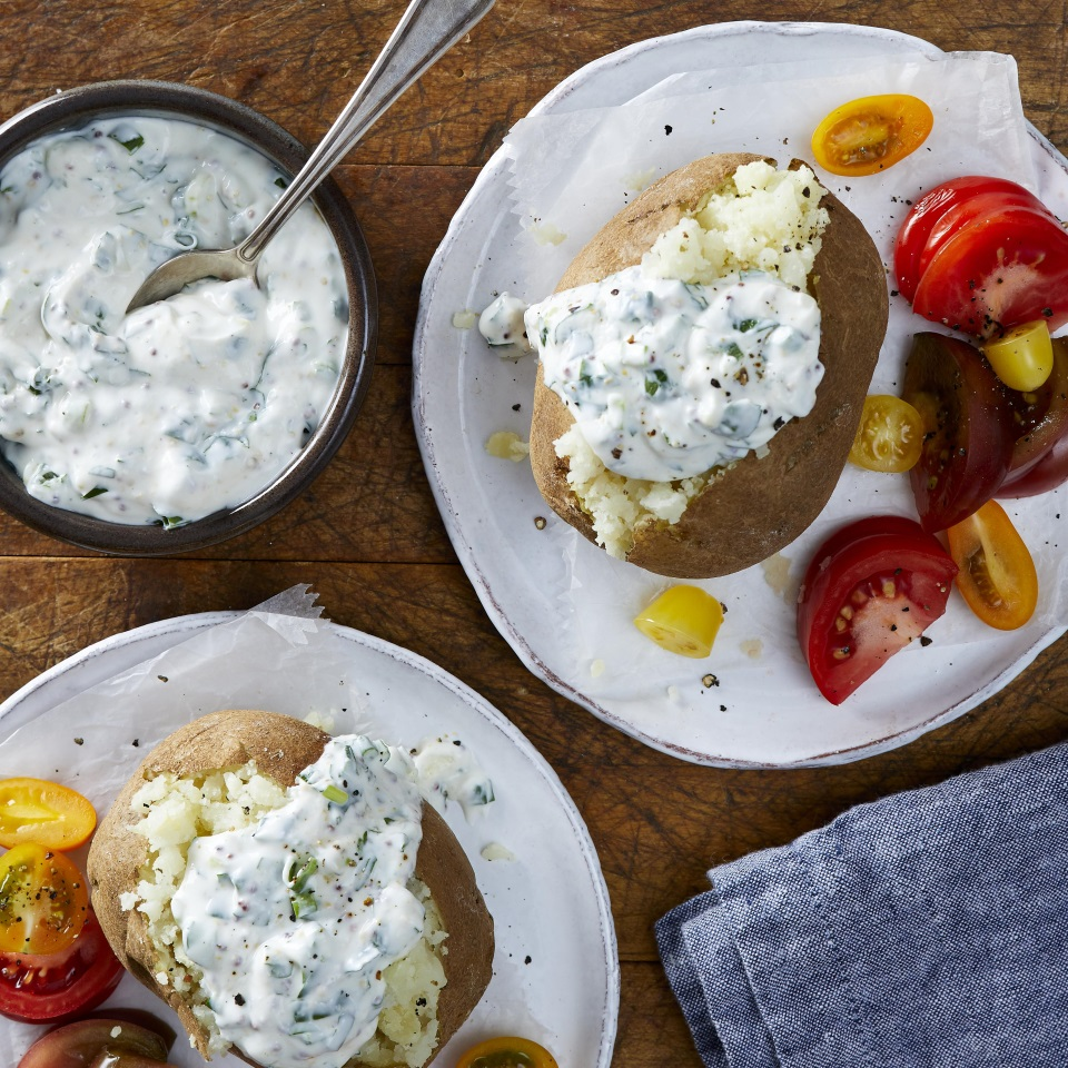 Sour Cream-&-Herb Baked Potatoes EatingWell Test Kitchen