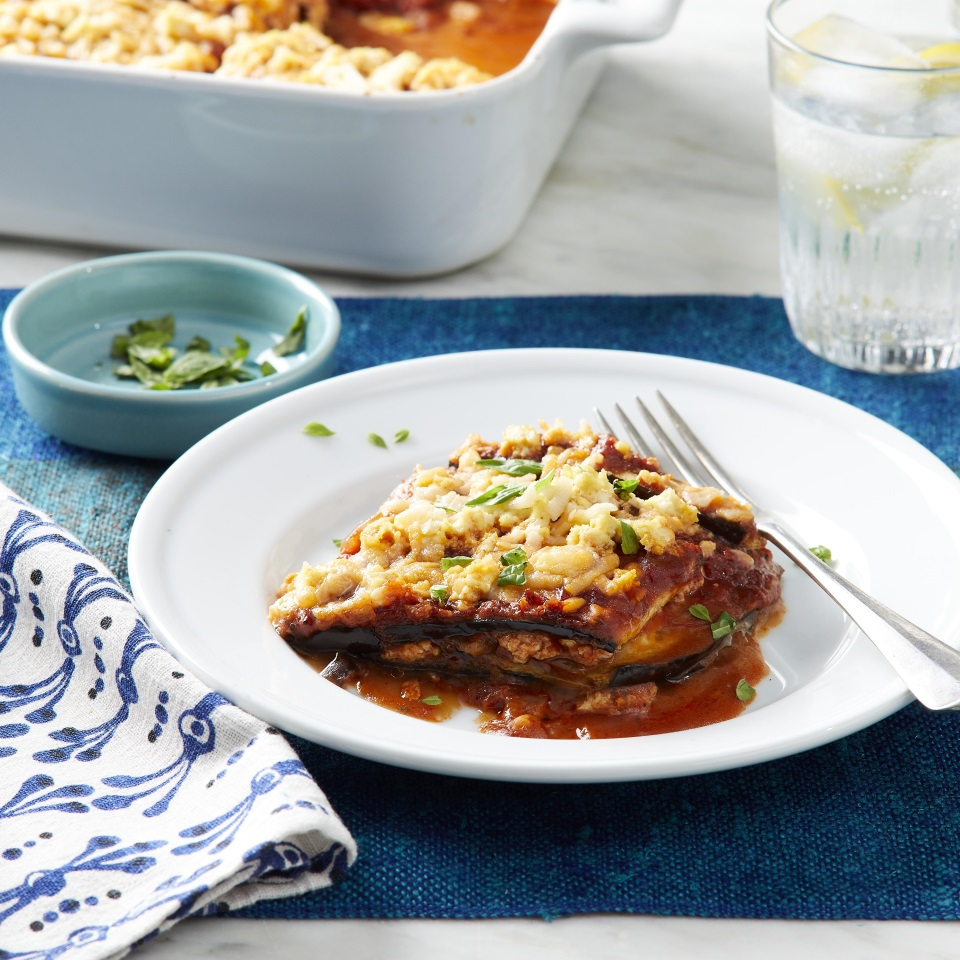 Classic eggplant Parm is filled with cheese, but this vegan eggplant Parmesan combines nondairy mozzarella cheese with nutritional yeast for a dairy-free cheesy substitute that gives you the comfort food factor without animal products. For the breading, use egg replacer, which you can find in natural-foods stores and the special-diet section of large supermarkets.