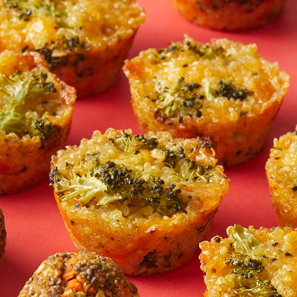 These savory muffin-like quinoa bites are low in carbs and a good source of protein—plus we love their cheesy flavor.