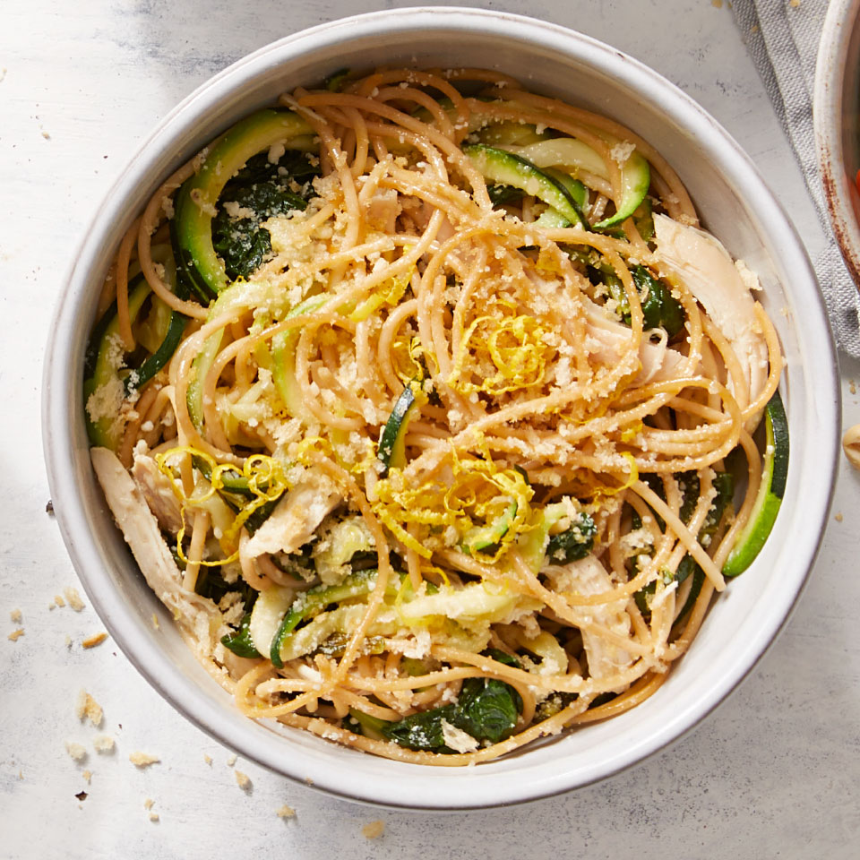 We love the combination of lemon zest and toasted breadcrumbs in this quick and easy pasta recipe for one. This healthy dinner is made with rotisserie chicken and quick-cooking spiralized zucchini and baby zucchini, so you get a complete meal in just 10 minutes.