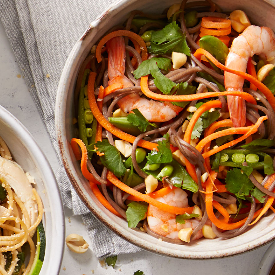 This healthy peanut shrimp noodle recipe comes together in a flash, thanks to cooked shrimp and a handful of crunchy veggies. Look for precooked cocktail shrimp in the seafood section of your grocery store.