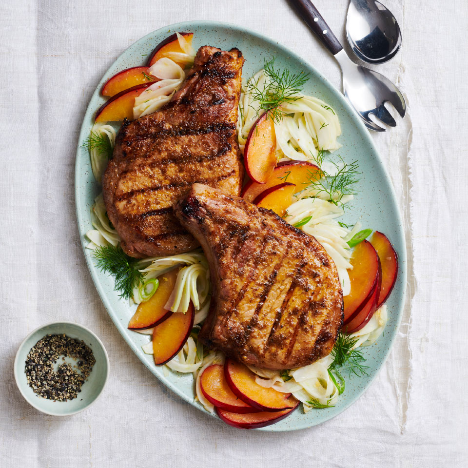Coriander-Rubbed Pork Chops with Fennel-Plum Salad Breana Killeen