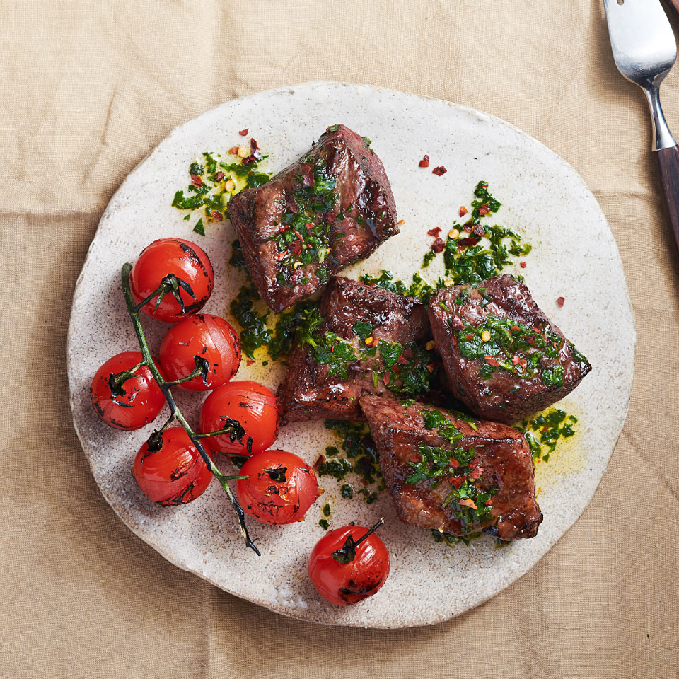 Short ribs lend themselves to braising—but don't stop there. You can get surprisingly tender results on the grill too. Here the ribs are used in an easy dinner recipe that's ready in just 20 minutes. Hailing from South America, chimichurri is a fresh herb sauce that gets a little heat from crushed red pepper.