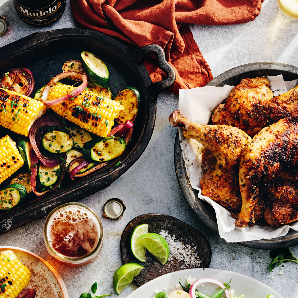 Beer-Glazed Chicken with Grilled Vegetables Rick Bayless