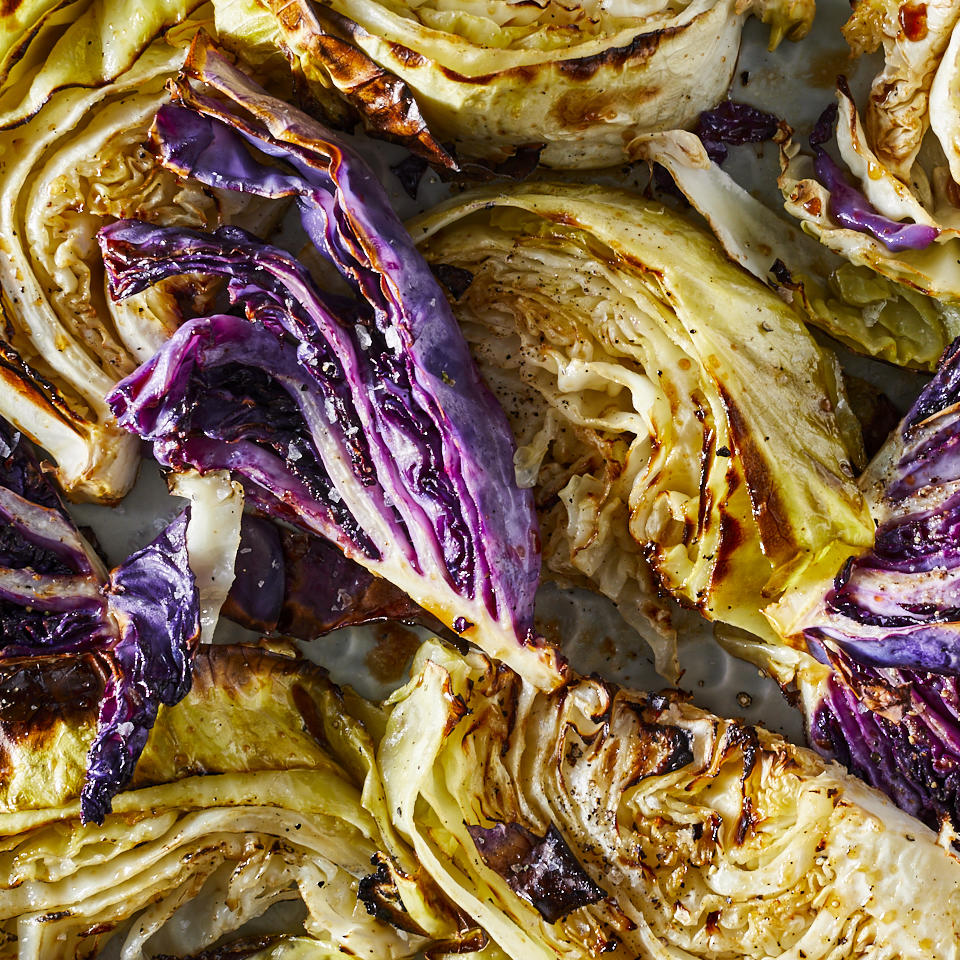 These roasted cabbage wedges with honey and balsamic vinegar make an attractive and healthy side dish that's also very easy to prepare. You can use red or green cabbage—or make a double batch with one of each for a pretty presentation.