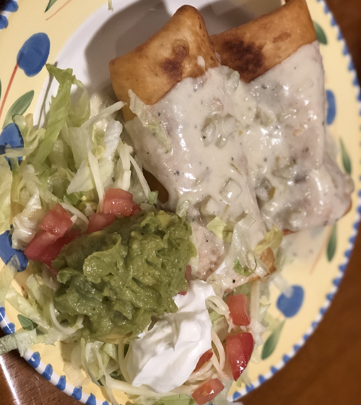 Chicken Chimichangas with Sour Cream Sauce TwoLoveBirds