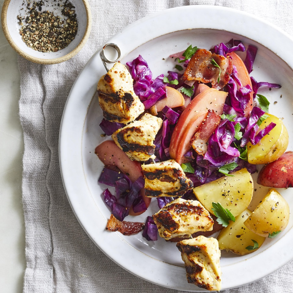 Chicken Kebabs with Warm Cabbage-Apple Slaw Diabetic Living Magazine