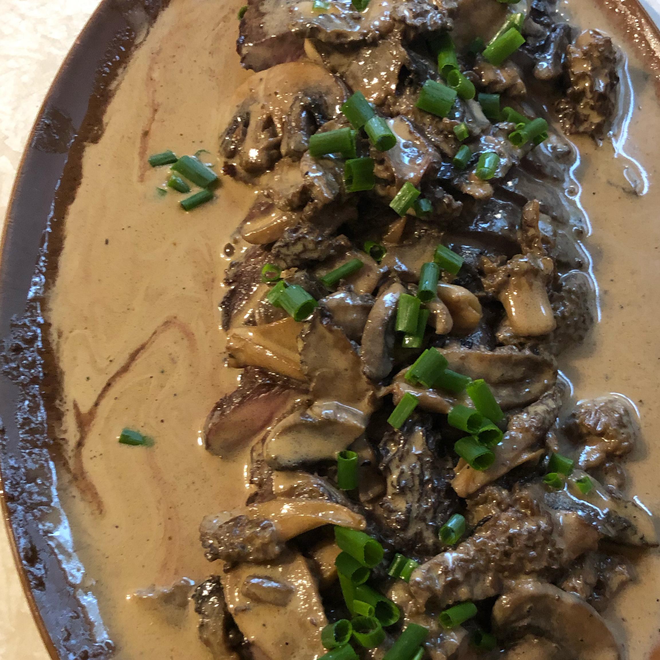 Flat Iron Steak with Mushroom Sauce bringel