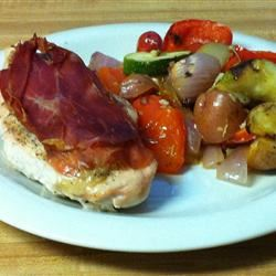 Parma Wrapped Chicken with Mediterranean Vegetables eecaule