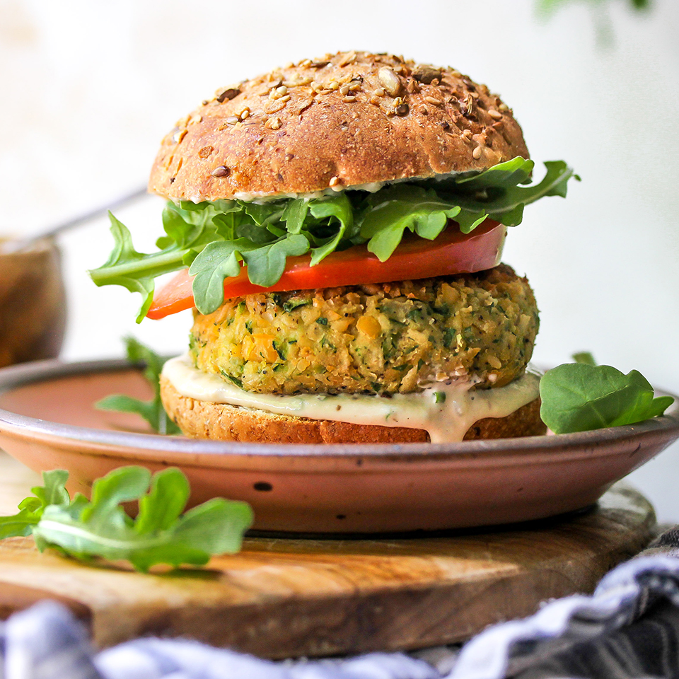Zucchini Chickpea Veggie Burgers With Tahini Ranch Sauce Recipe Eatingwell