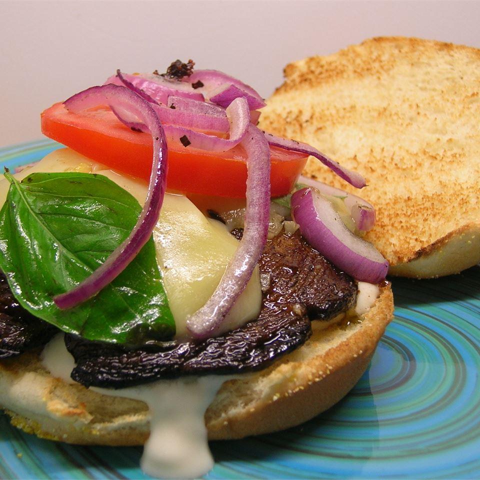 Grilled Portobello with Basil Mayonnaise Sandwich